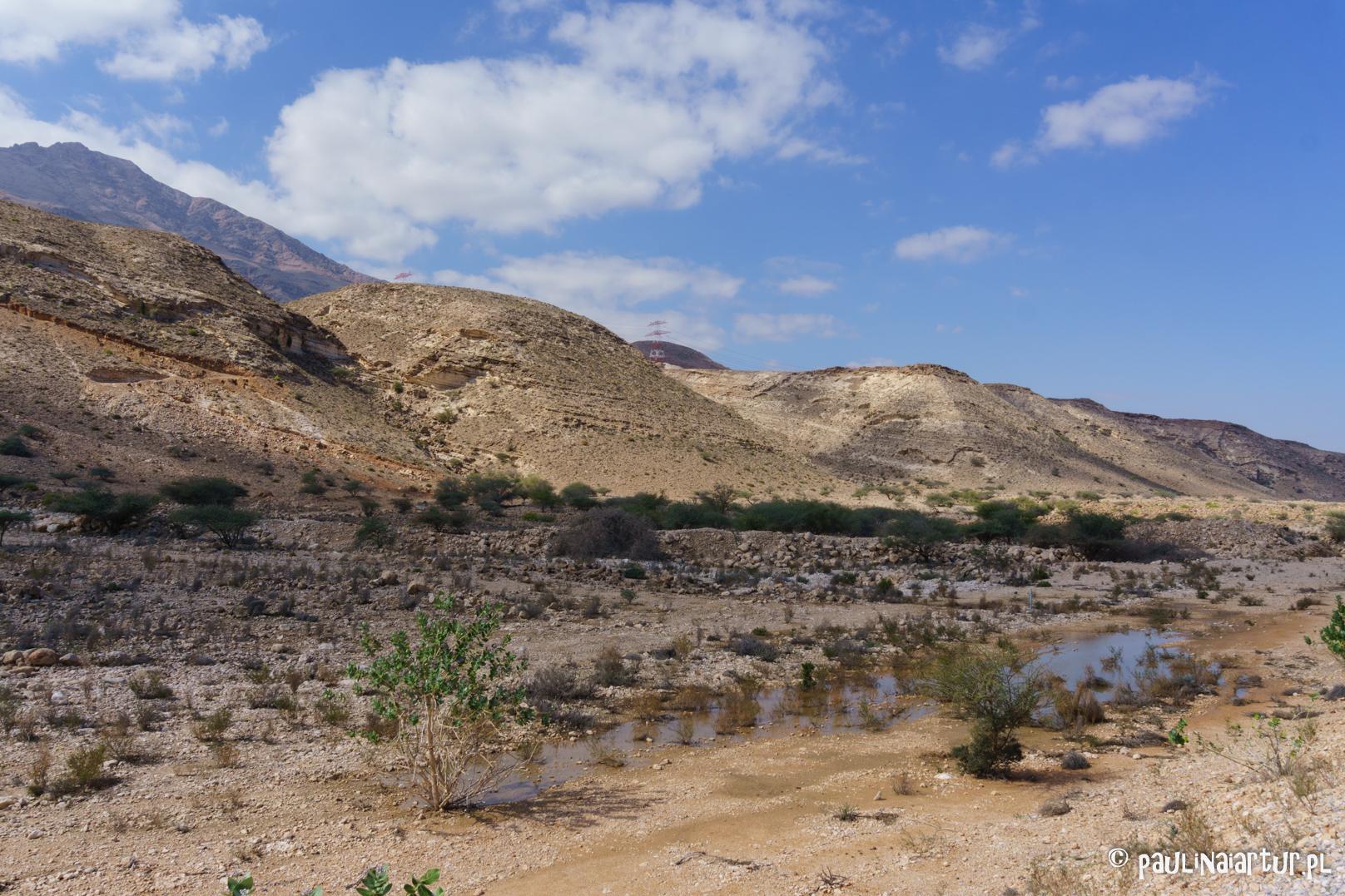 Góry przy drodze w Omanie