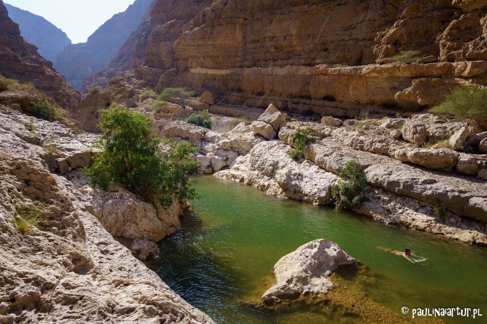 Orzeźwiający basen w Wadi Shab